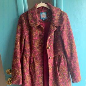 Anthropologie Pink Paisley Pea Coat